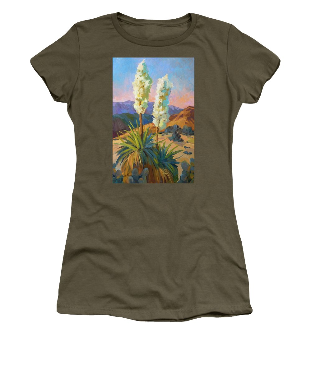 Yuccas Women's T-Shirt featuring the painting Yuccas by Diane McClary