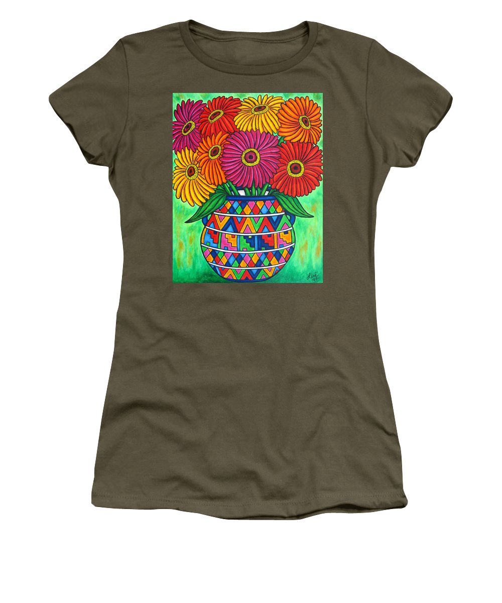 Zinnia Women's T-Shirt (Athletic Fit) featuring the painting Zinnia Fiesta by Lisa Lorenz