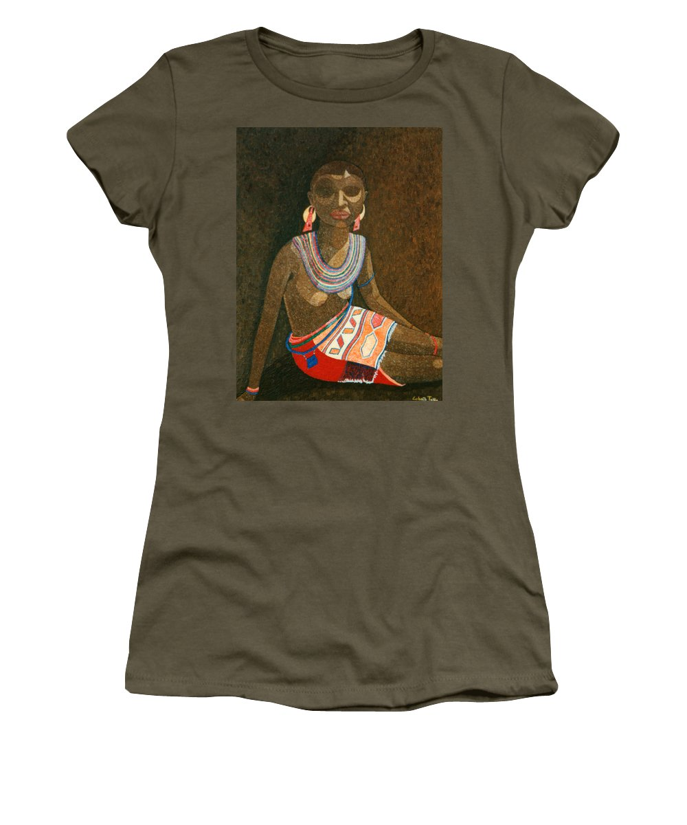 Zulu Woman Women's T-Shirt (Athletic Fit) featuring the painting Zulu Woman With Beads by Madalena Lobao-Tello
