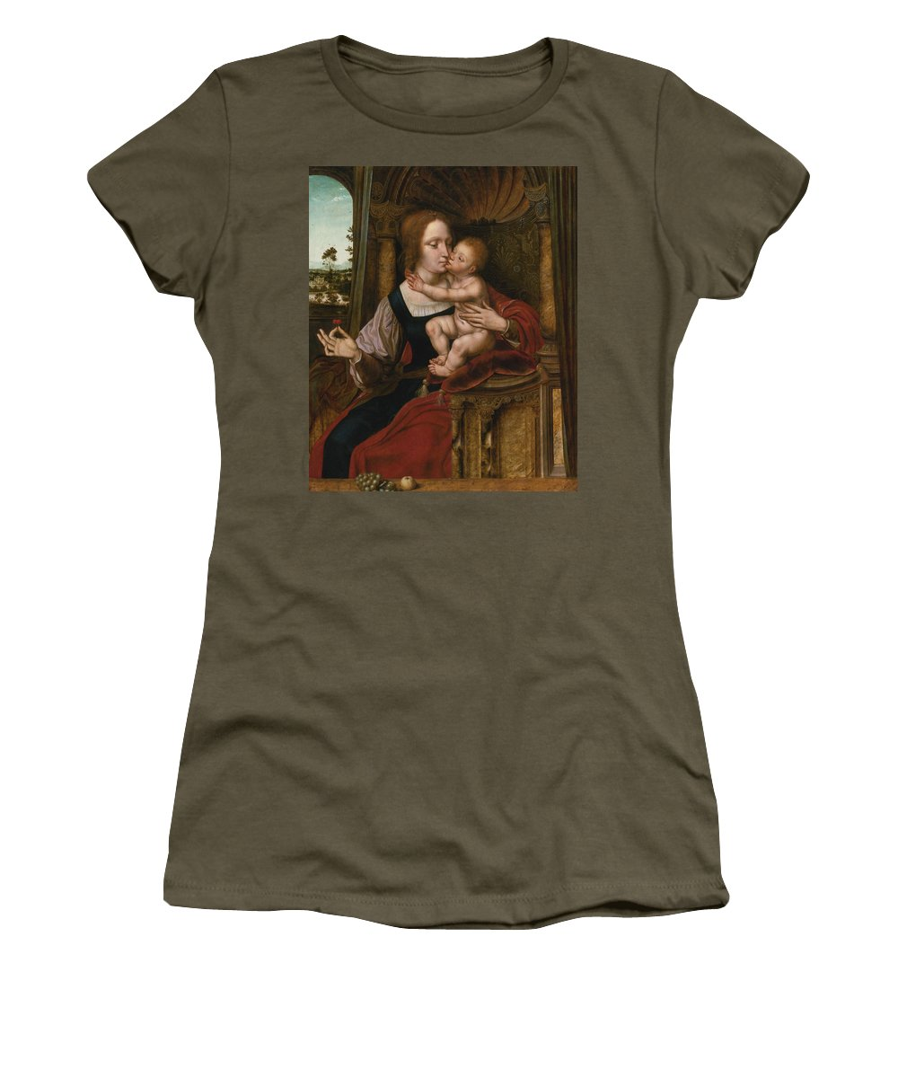 16th Century Art Women's T-Shirt featuring the painting The Madonna Of The Cherries by Quentin Matsys
