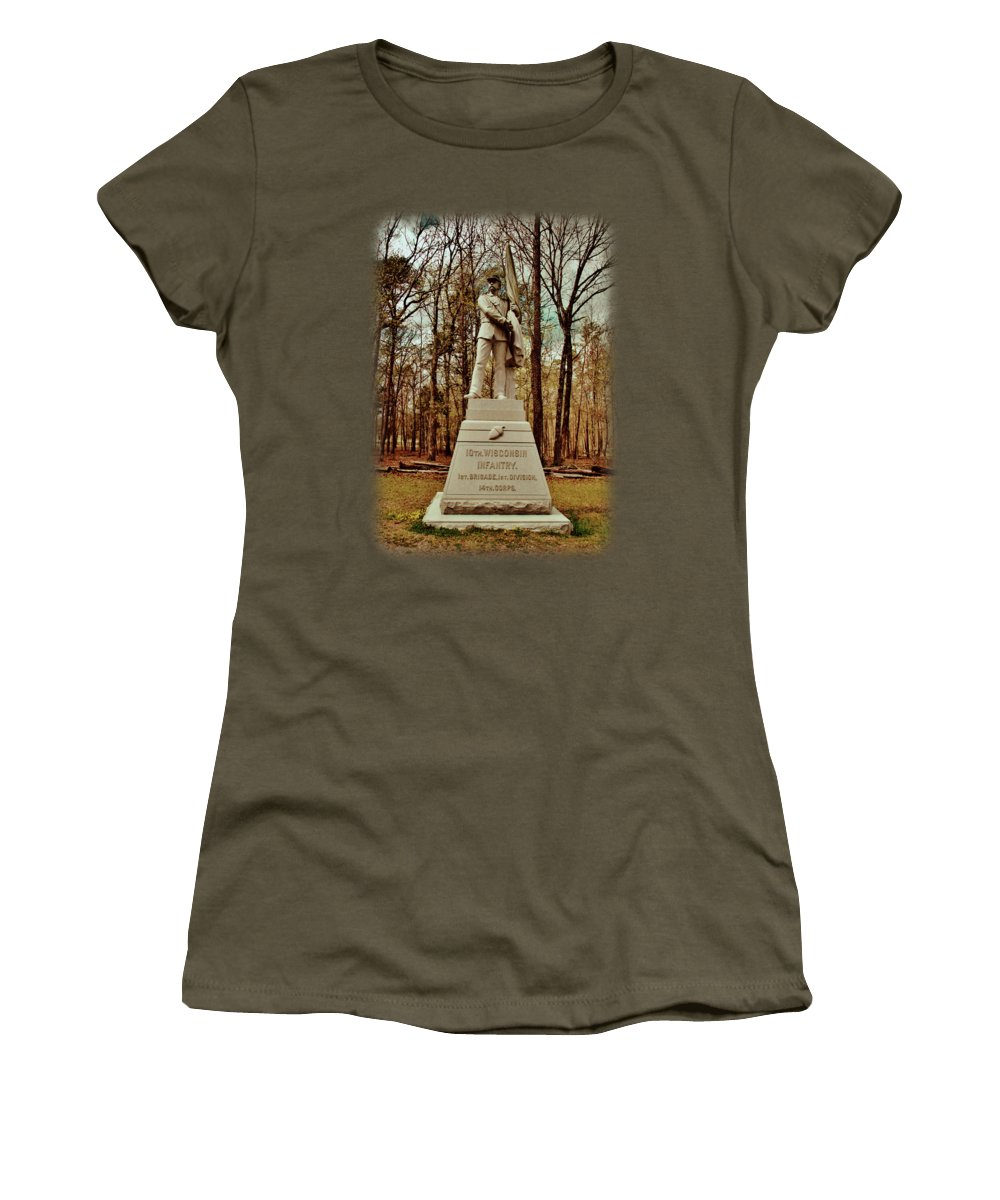 10th Wisconsin Infantry Women's T-Shirt featuring the photograph 10th Wisconsin Infantry by Anita Faye