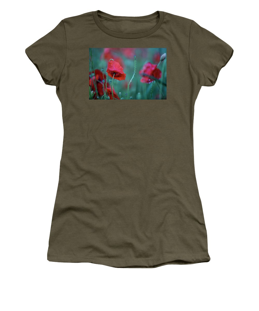 Poppy Women's T-Shirt featuring the photograph Red Corn Poppy Flowers 2 by Nailia Schwarz