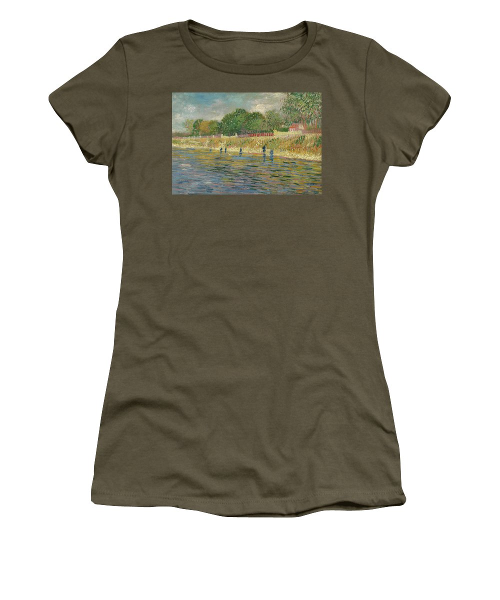 Vincent Van Gogh Women's T-Shirt featuring the painting Bank Of The Seine by Vincent van Gogh