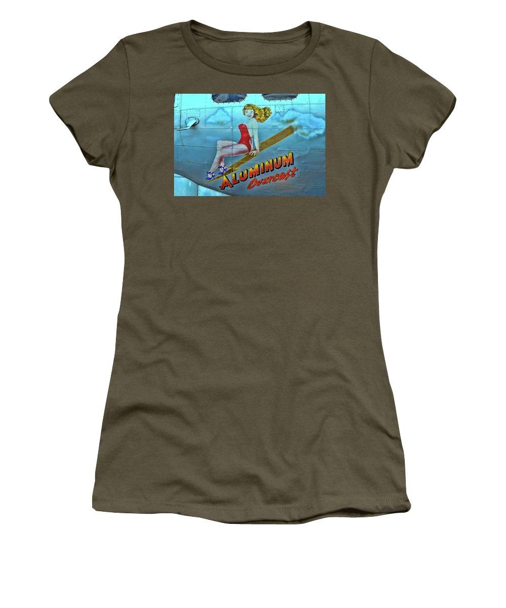 B-17 Pin-up Women's T-Shirt featuring the photograph B - 17 Aluminum Overcast Pin-up by Allen Beatty