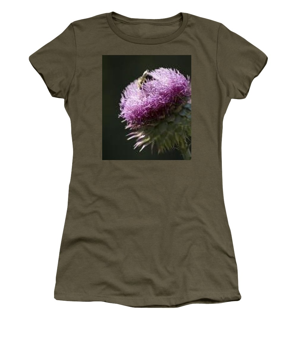 Bee Women's T-Shirt featuring the photograph Bee On Thistle by Nancy Ayanna Wyatt