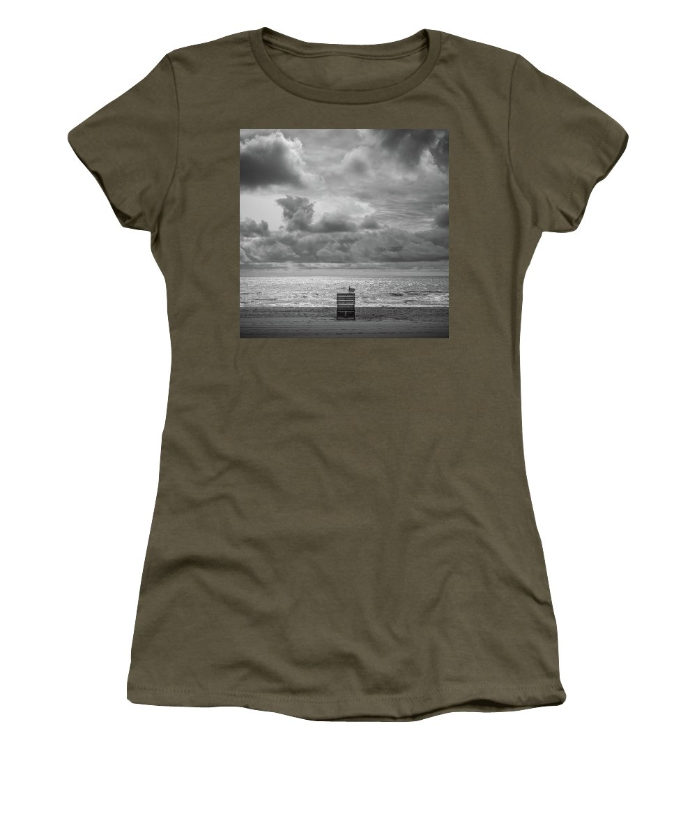 Beach Women's T-Shirt featuring the photograph Cloudy Morning Rough Waves by Steve Stanger