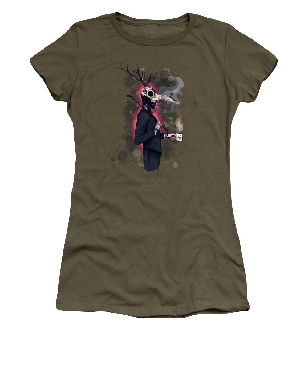 Deer Daddy Women's T-Shirt featuring the drawing Deer Daddy Series 2 Fathers Day by Ludwig Van Bacon