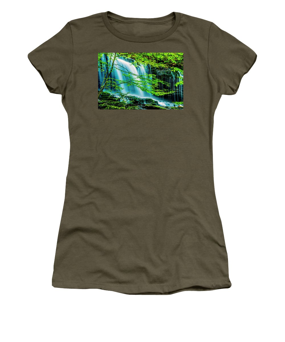 D1-l-2971-d Women's T-Shirt featuring the photograph Falls Behind Spring Trees by Paul W Faust - Impressions of Light
