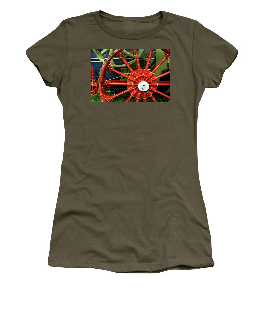 Wheel Women's T-Shirt featuring the photograph Fancy Tractor Wheel by Paul W Faust - Impressions of Light