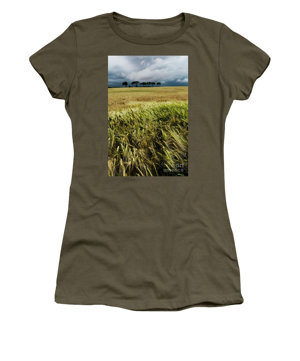 Nature Women's T-Shirt featuring the photograph Field With Poppies And Trees. Vertical by Vicente Sargues