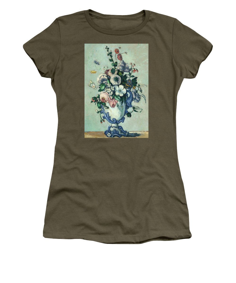 Paul Cezanne Women's T-Shirt featuring the painting Flowers In A Rococo Vase, Circa 1876 by Paul Cezanne