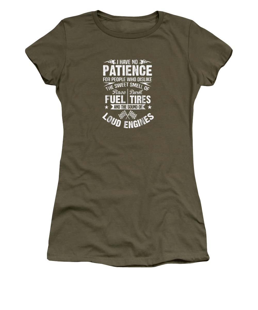 girls' Novelty T-shirts Women's T-Shirt featuring the digital art Funny Drag Racing T-shirt No Patience Race Fuel Burnt Tires by Do David