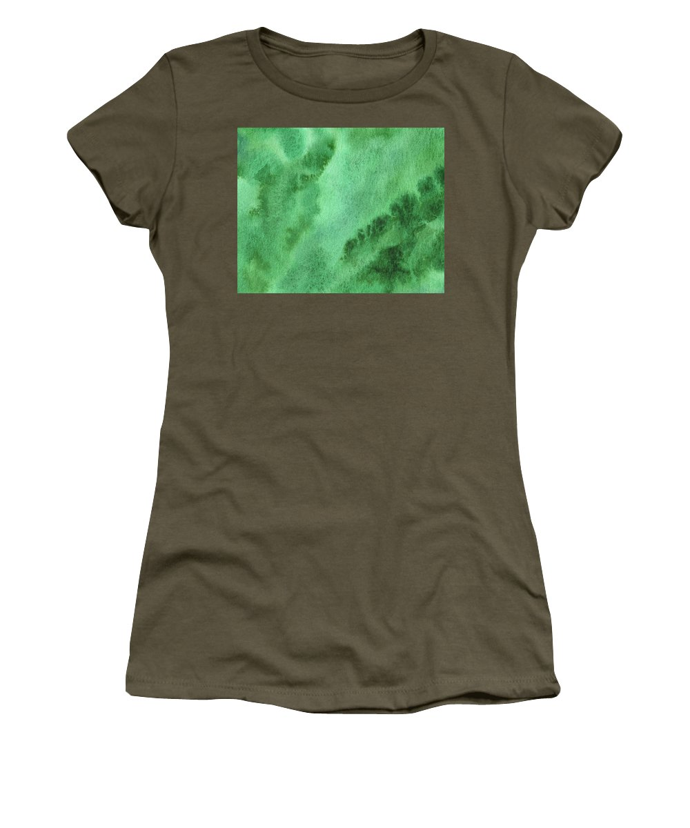 Abstract Women's T-Shirt featuring the painting Green Splashes And Glow Abstract Watercolor by Irina Sztukowski