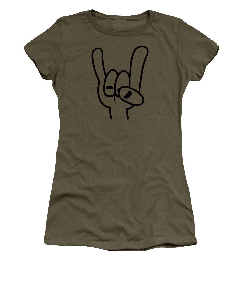 Band Women's T-Shirt featuring the digital art Heavy Metal Devil Horns Black Line by John Schwegel