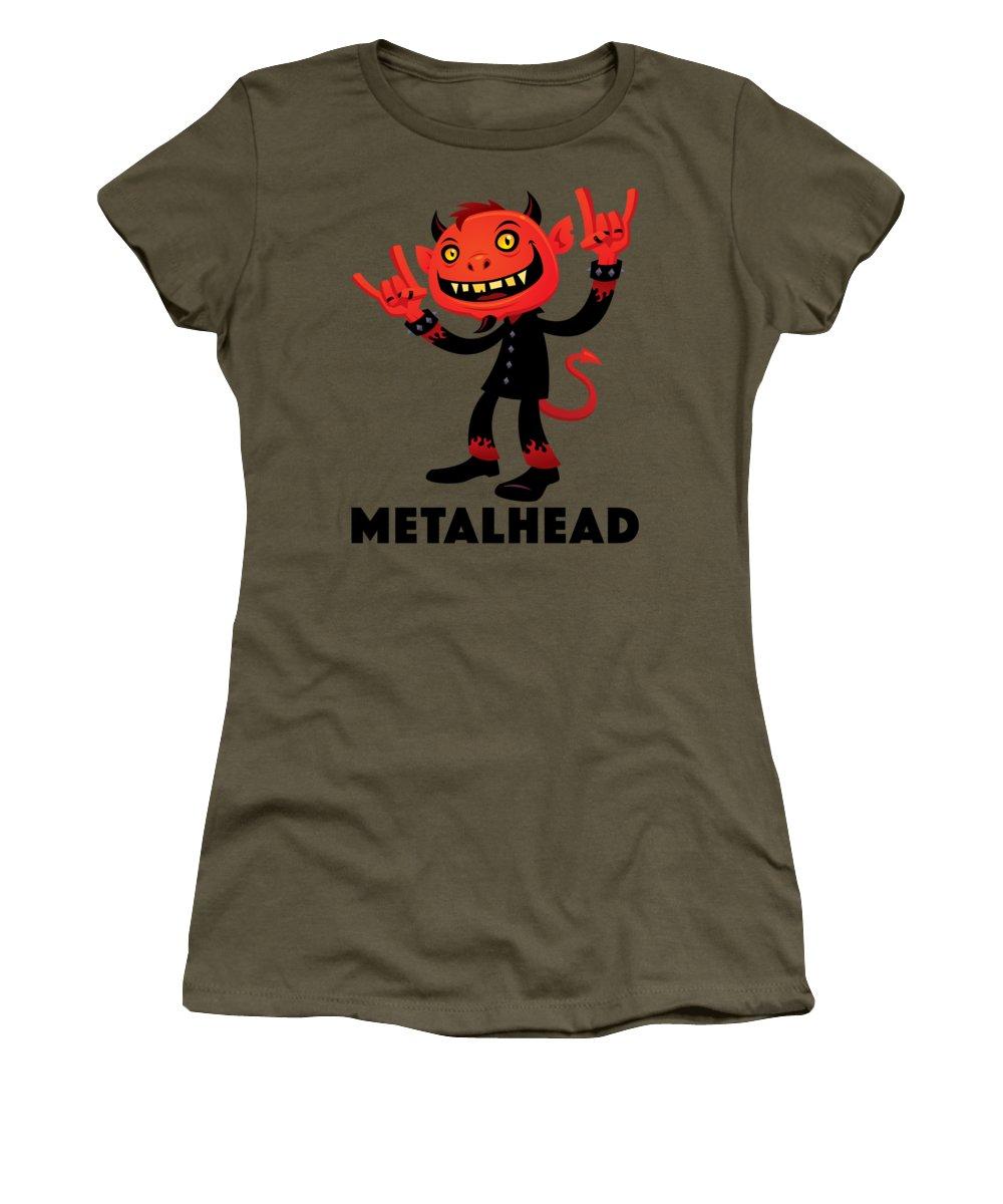 Band Women's T-Shirt featuring the digital art Heavy Metal Devil Metalhead by John Schwegel