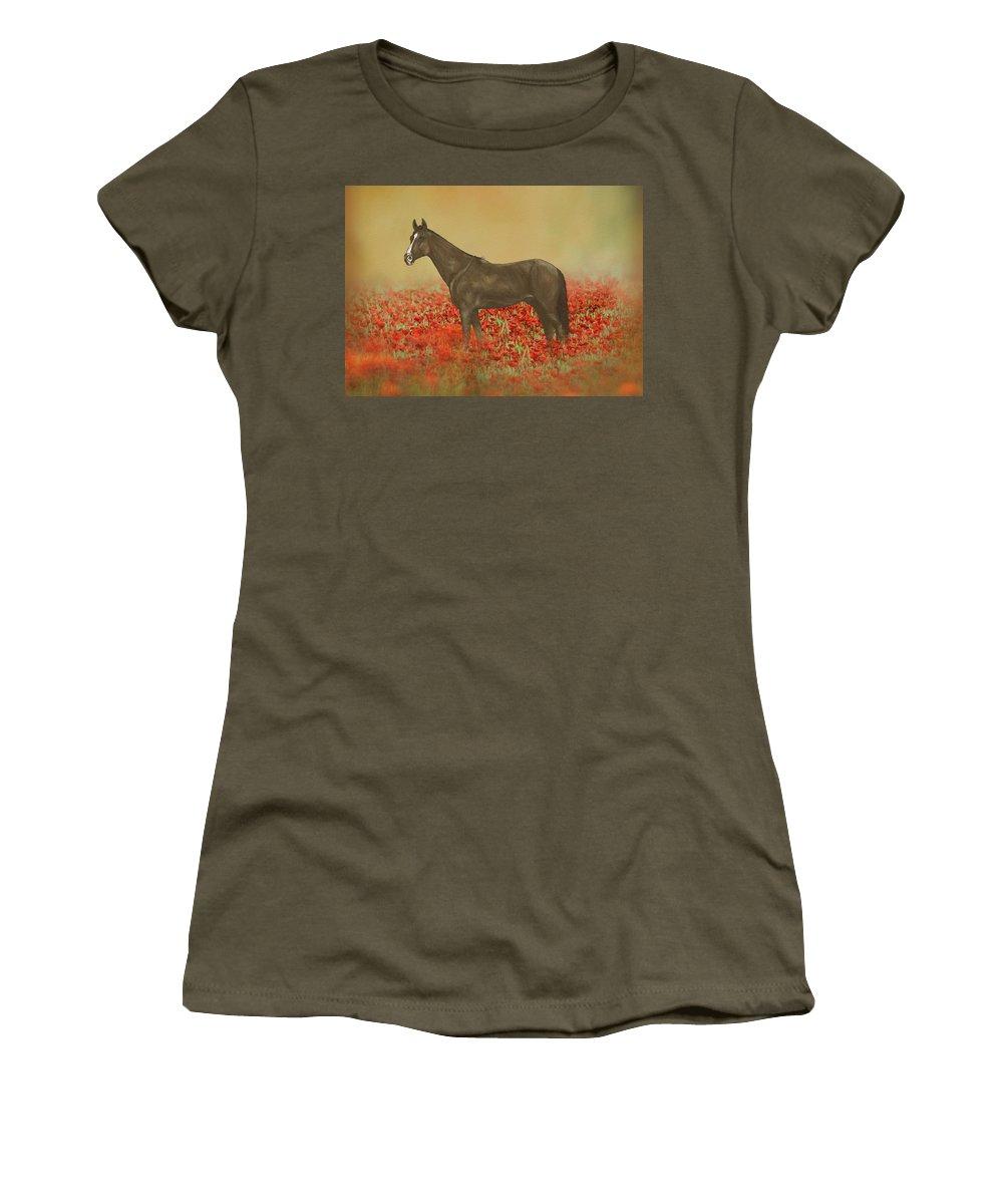 Art Women's T-Shirt featuring the mixed media Horse In Poppy Field by Amanda Lakey