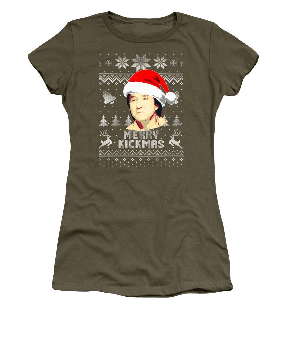 Santa Women's T-Shirt featuring the digital art Jackie Chan Merry Kickmas by Filip Hellman
