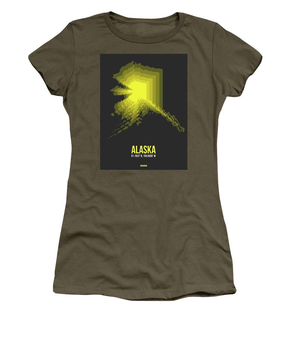 Alaska Women's T-Shirt featuring the digital art Map Of Alaska by Naxart Studio