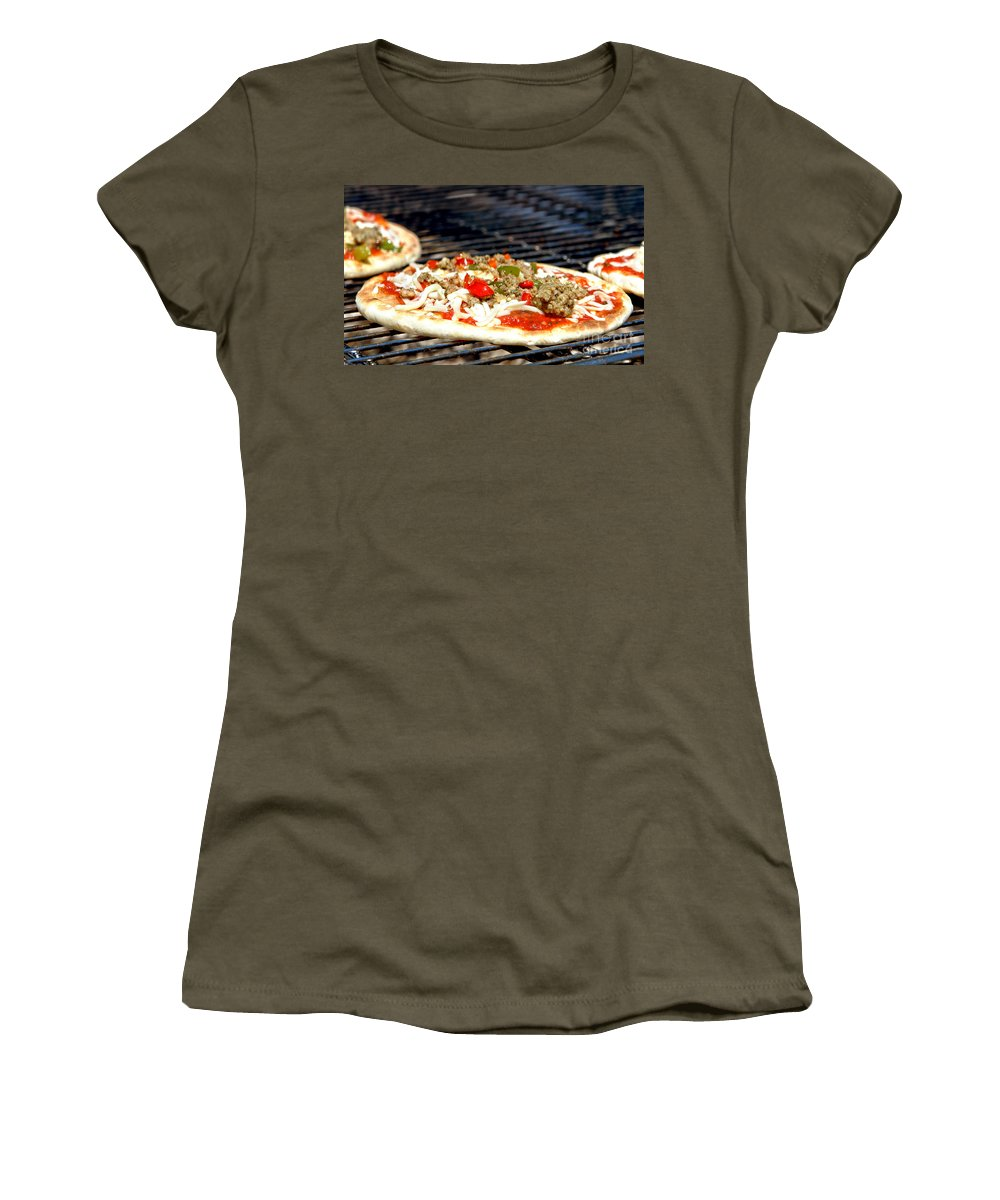 Pizza Women's T-Shirt featuring the photograph Pizza On The Grill by Olivier Le Queinec