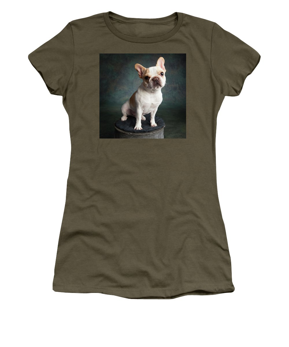 Photography Women's T-Shirt featuring the photograph Portrait Of A French Bulldog by Panoramic Images