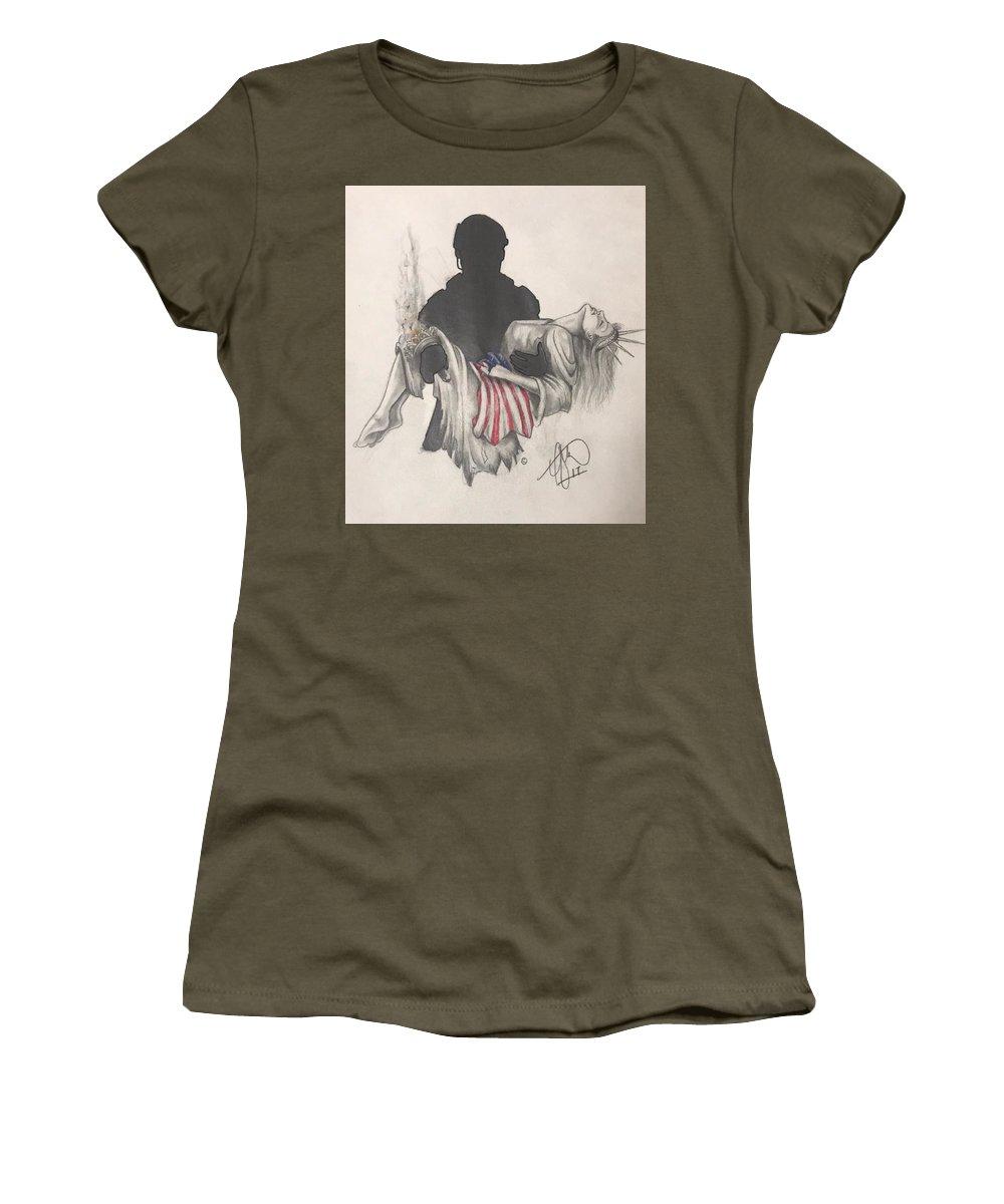 Liberty Women's T-Shirt featuring the drawing Saving Liberty by Howard King
