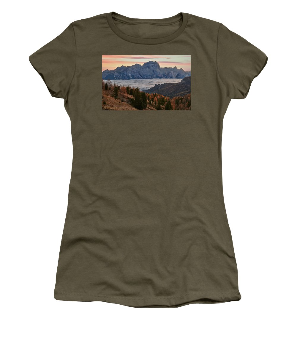 Dolomites Women's T-Shirt featuring the photograph Sea Of Clouds In The Dolomites by Jon Glaser