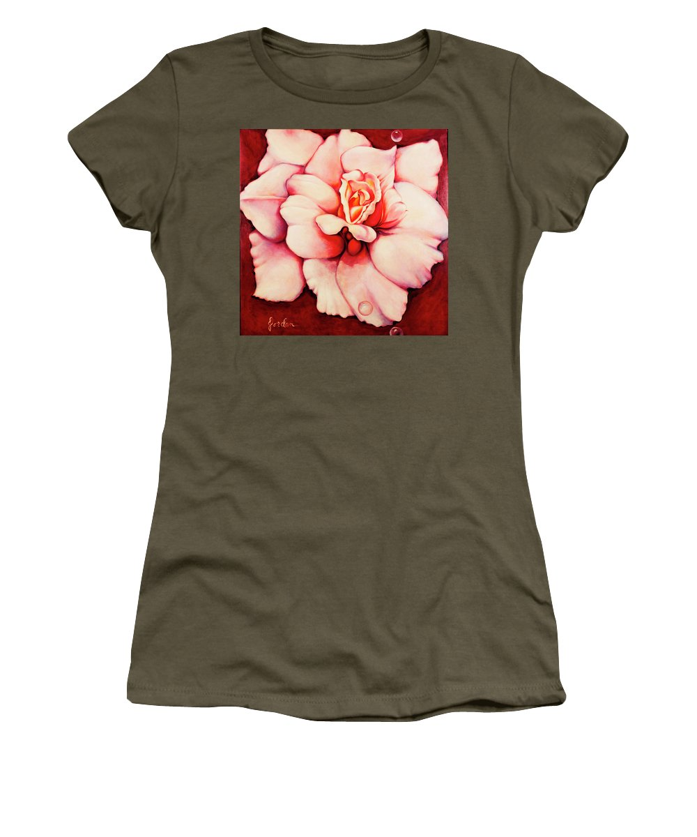 Blooms.large Rose Women's T-Shirt featuring the painting Sheer Bliss by Jordana Sands