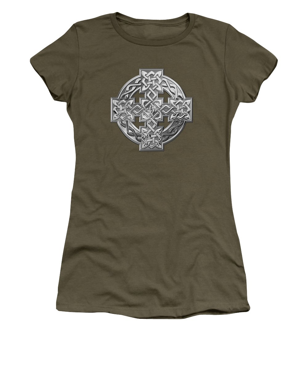 'celtic Treasures' Collection By Serge Averbukh Women's T-Shirt featuring the digital art Silver Celtic Knot Cross Over Red Leather by Serge Averbukh