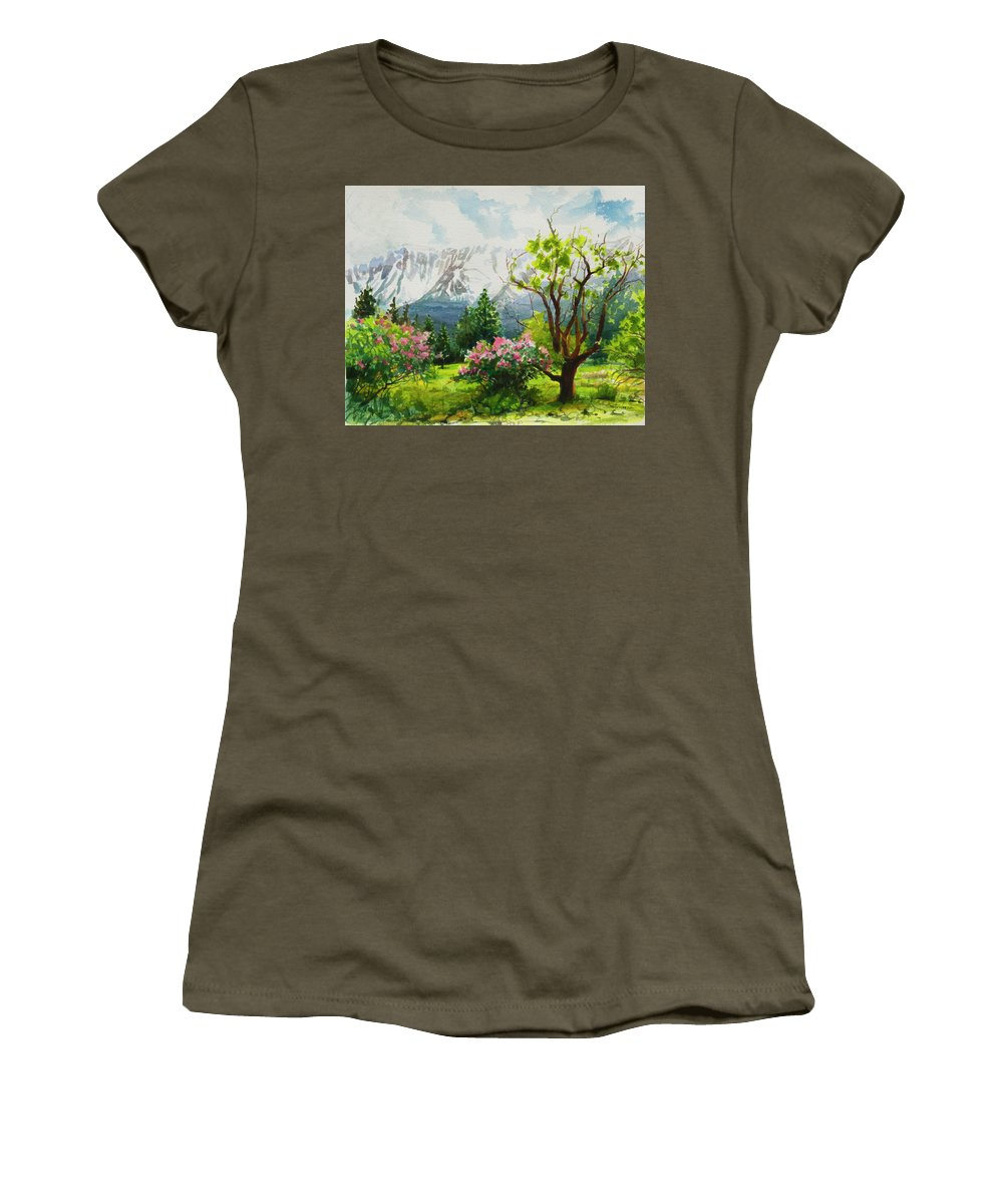 Landscape Women's T-Shirt featuring the painting Spring In The Wallowas by Steve Henderson