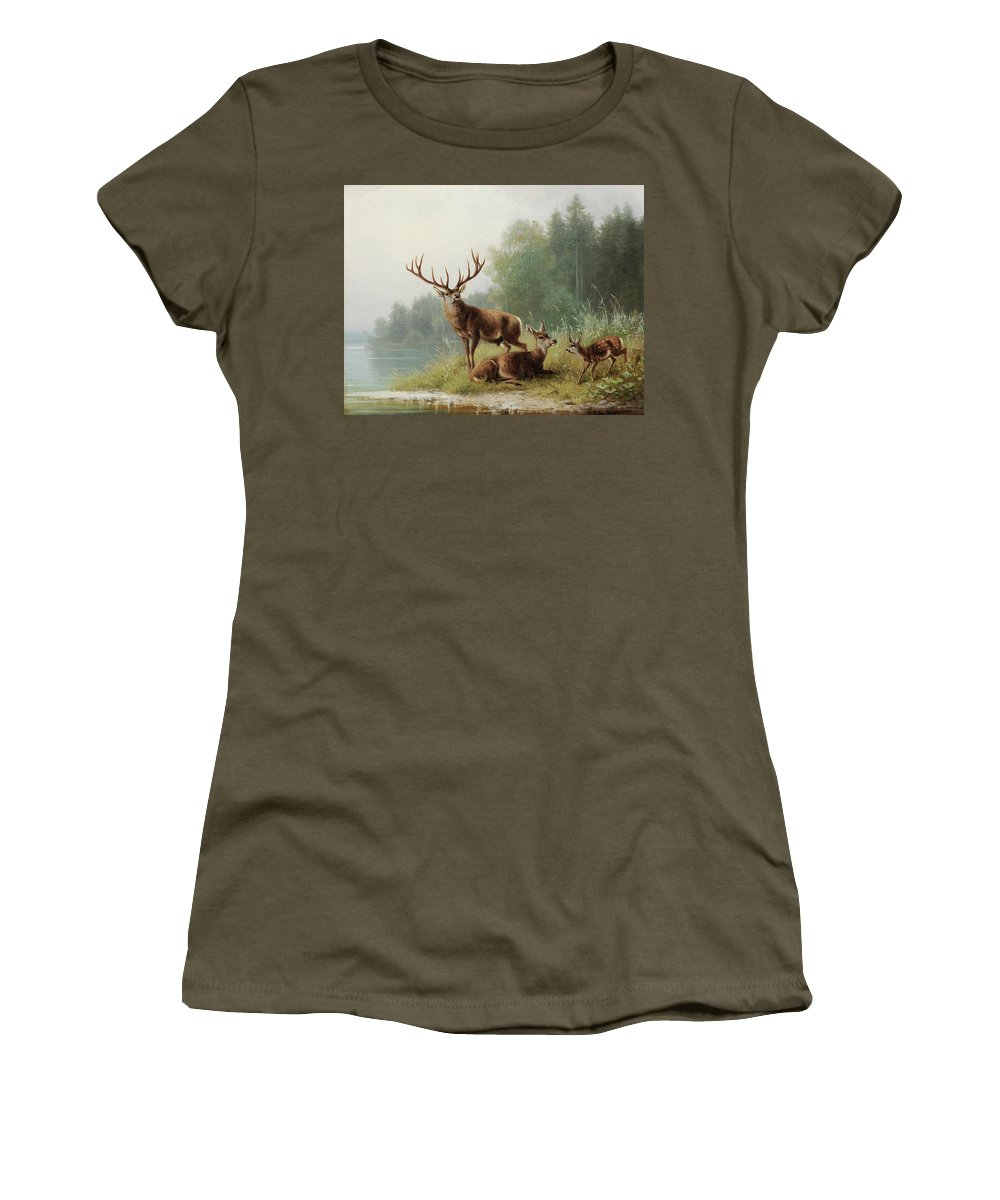Moritz Muller Women's T-Shirt featuring the painting Stag At A Lake by Moritz Muller