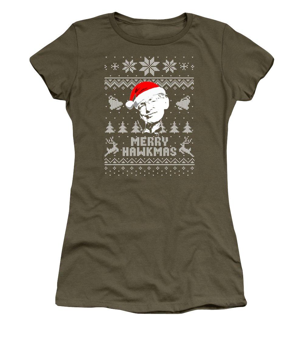 Santa Women's T-Shirt featuring the digital art Stephen Hawking Merry Hawkimas by Filip Hellman