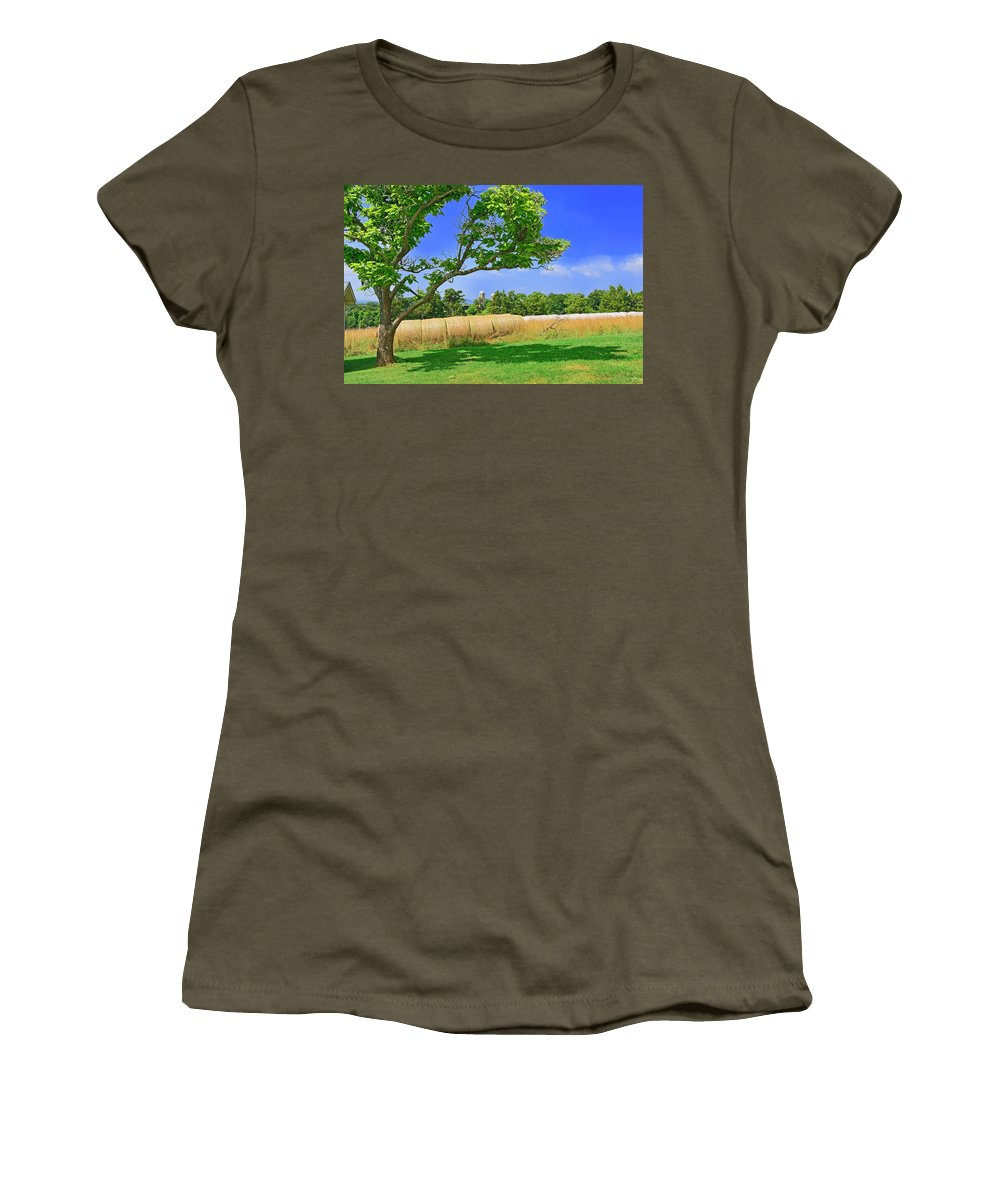 Farm Women's T-Shirt featuring the photograph Summer Bales Of Rolled Hay by The James Roney Collection