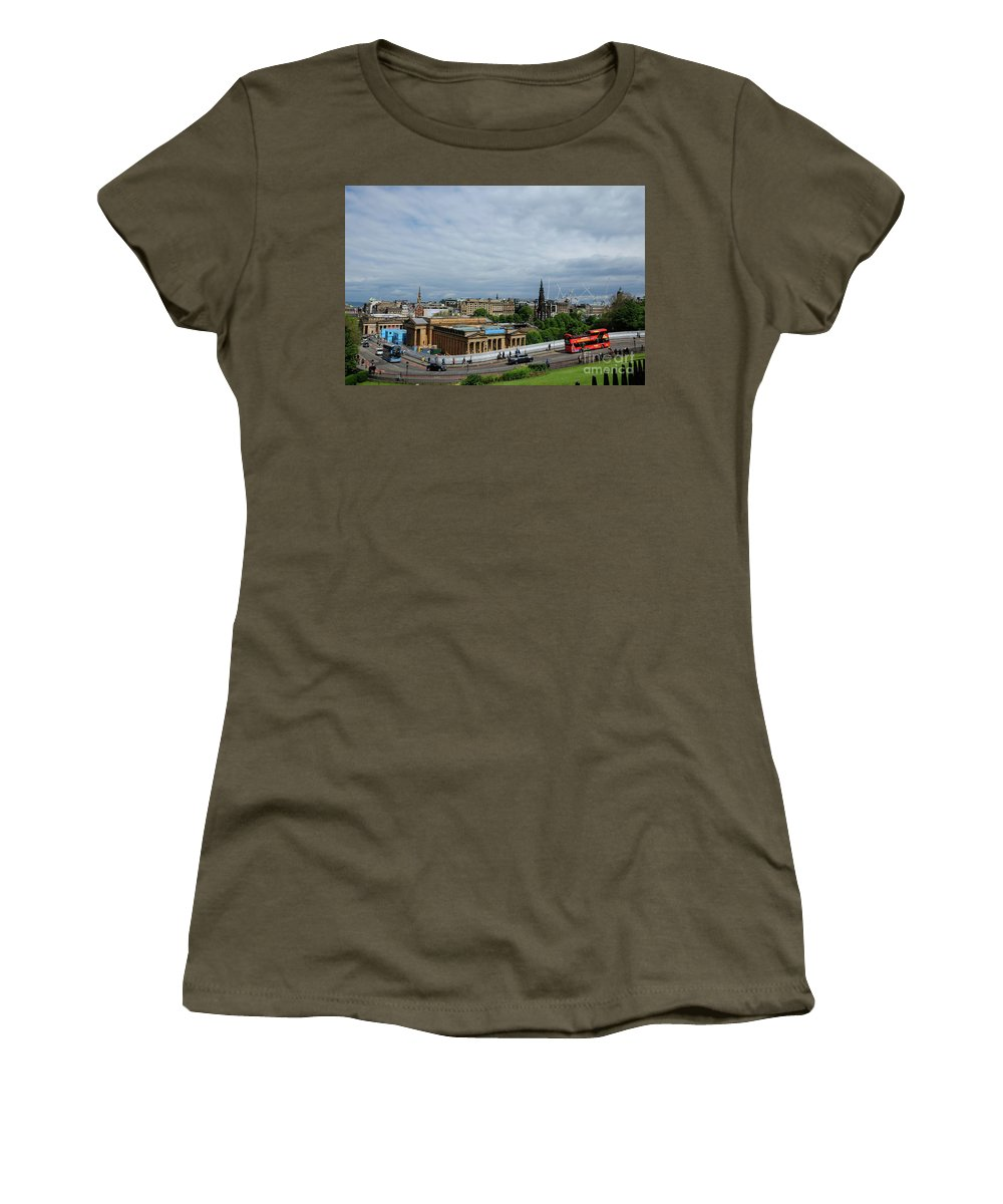 Architecture Women's T-Shirt featuring the photograph Sunny Day In Edinburgh by Mini Arora