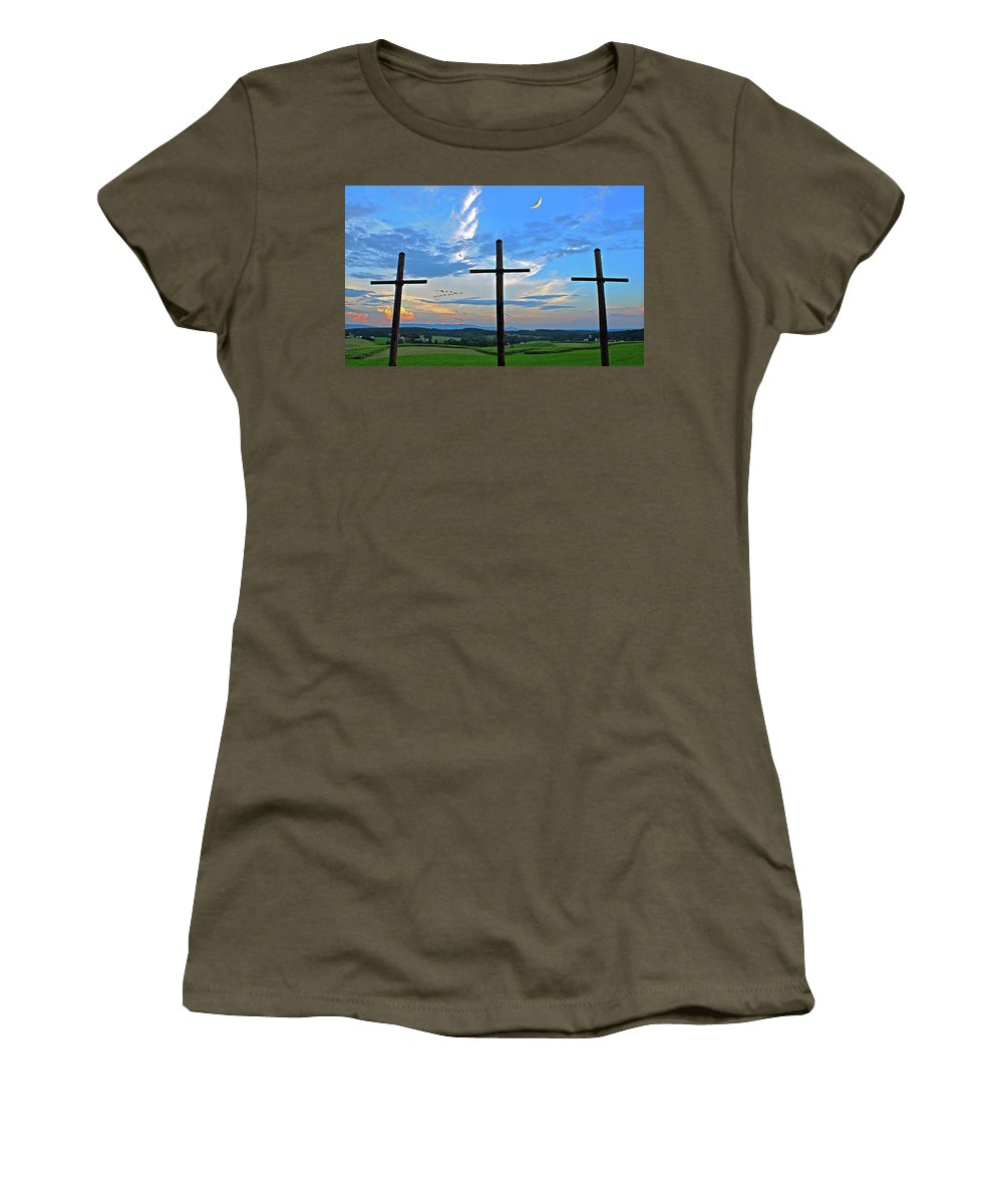 Three Rugged Crosses Women's T-Shirt featuring the photograph Three Rugged Crosses Against The Crescent Moon At Smith Mountain Lake by The James Roney Collection