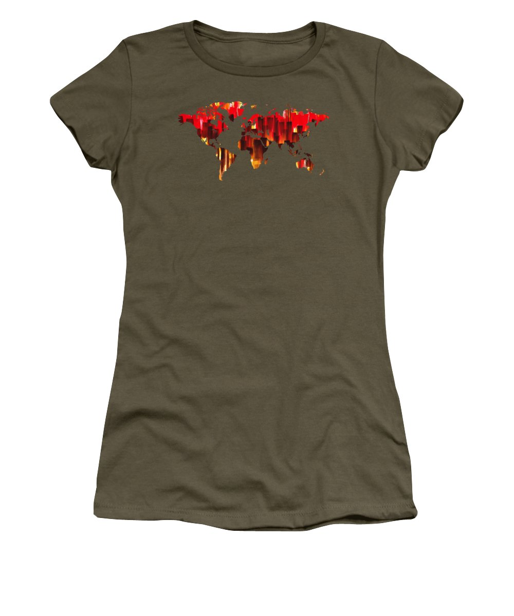 Red Women's T-Shirt featuring the painting Watercolor Silhouette World Map Colorful Png Xxix by Irina Sztukowski