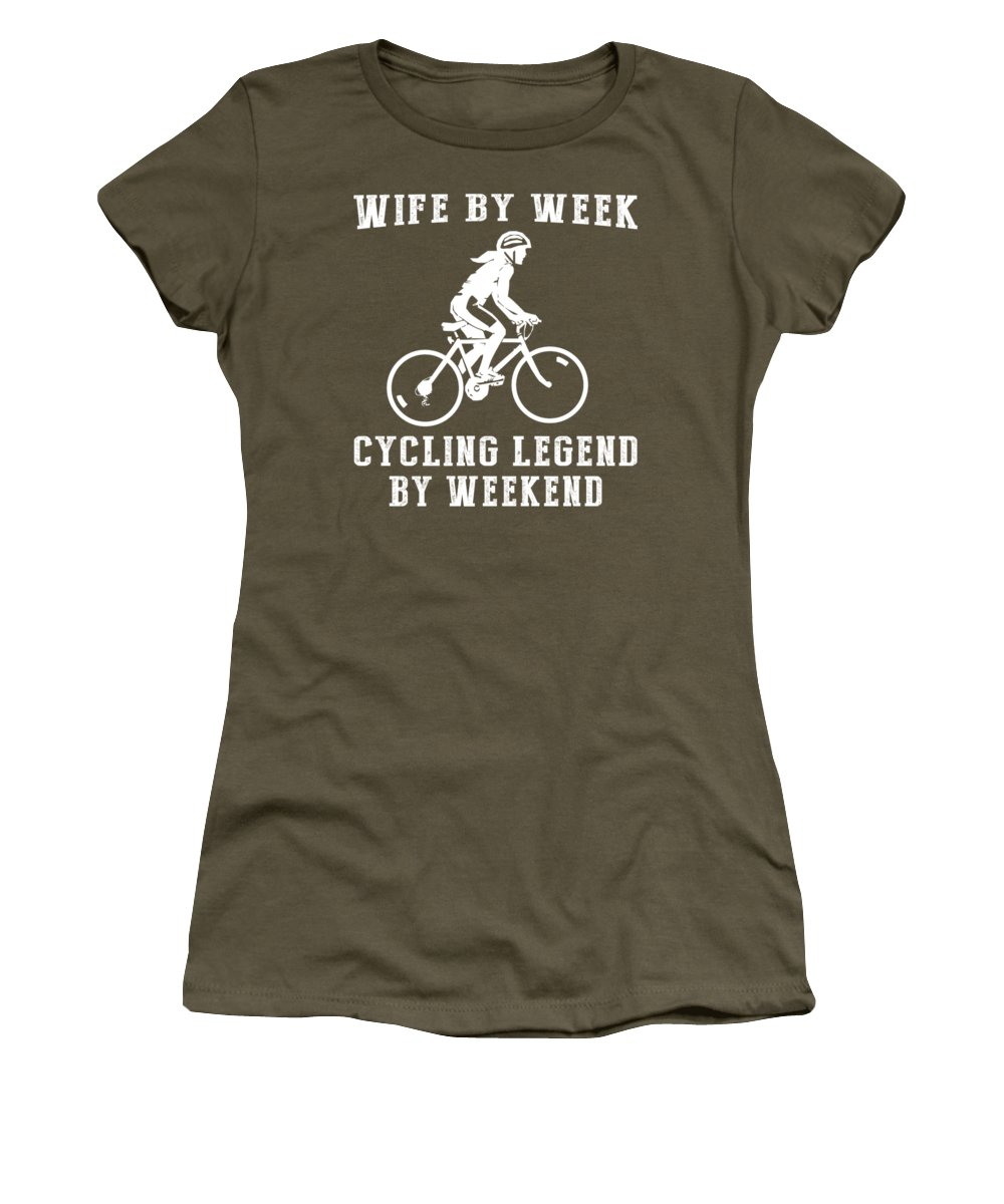 Wife By Week Women's T-Shirt featuring the digital art Wife By Week Cycling Legend By Weekend Tee by Black Shirt