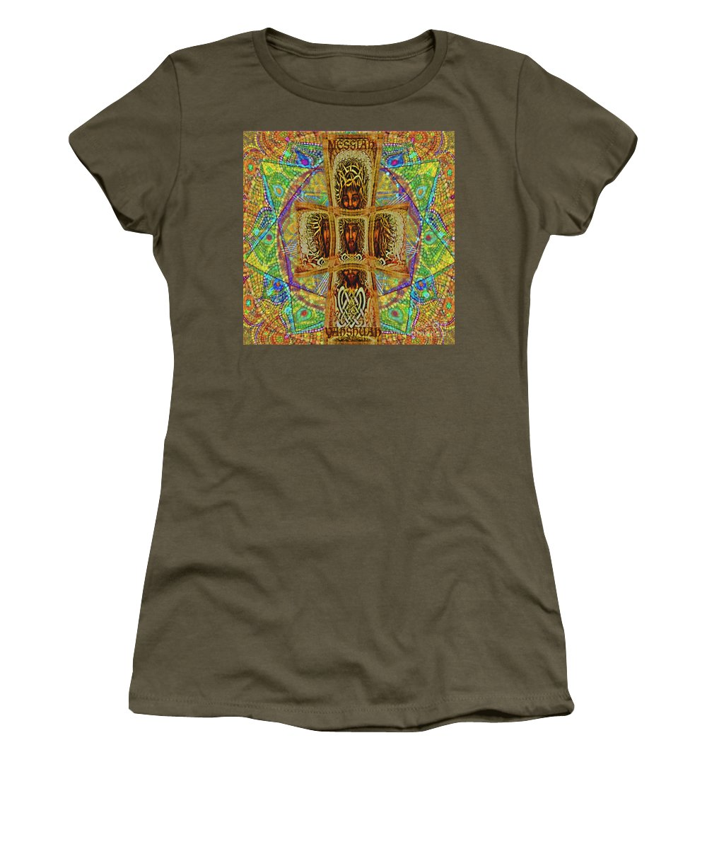Impressionist New Painting Inspiration Ministry Gospel Truth Righteous Praise Faith Mandala Cross Bible Women's T-Shirt featuring the painting Yhushua Messiah by Hidden Mountain