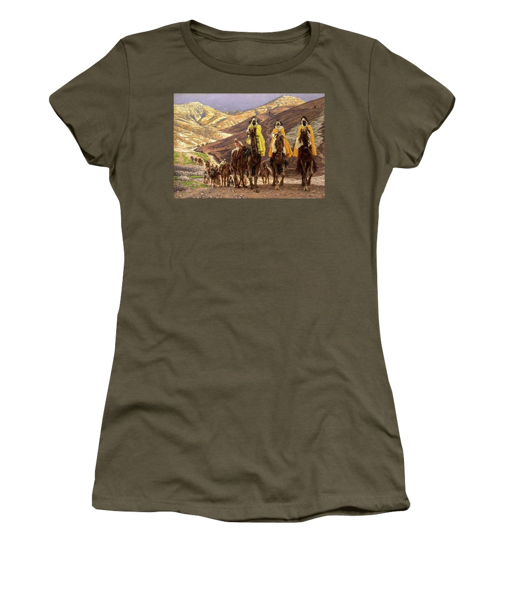 James Tissot Women's T-Shirt featuring the painting Journey Of The Magi, 1894 by James Tissot