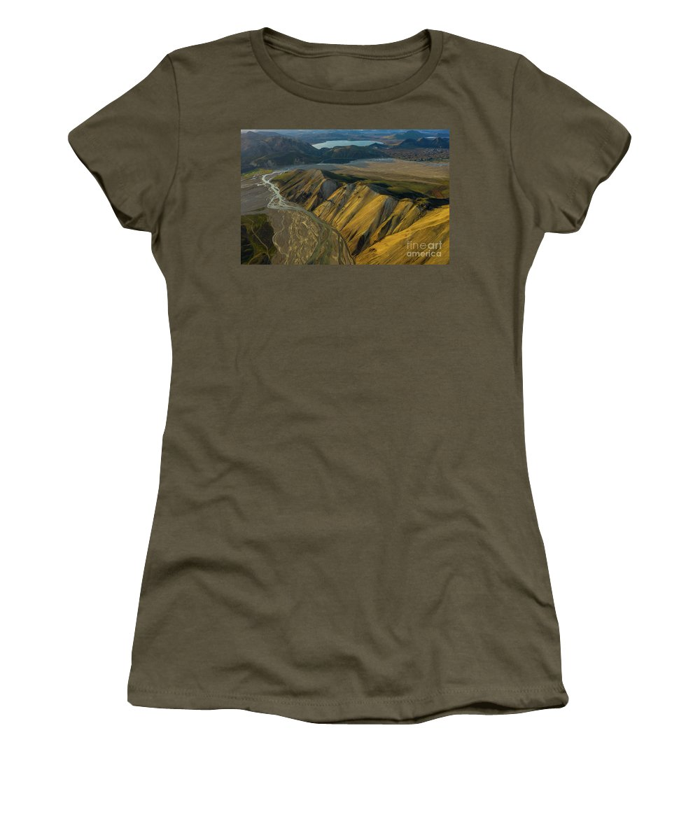 Iceland Women's T-Shirt featuring the photograph Over Iceland Barmur Ridge Dusk Light by Mike Reid