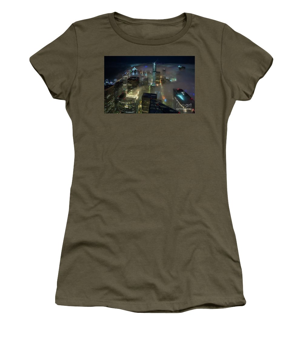 Seattle Women's T-Shirt featuring the photograph Seattle Night Fog by Mike Reid
