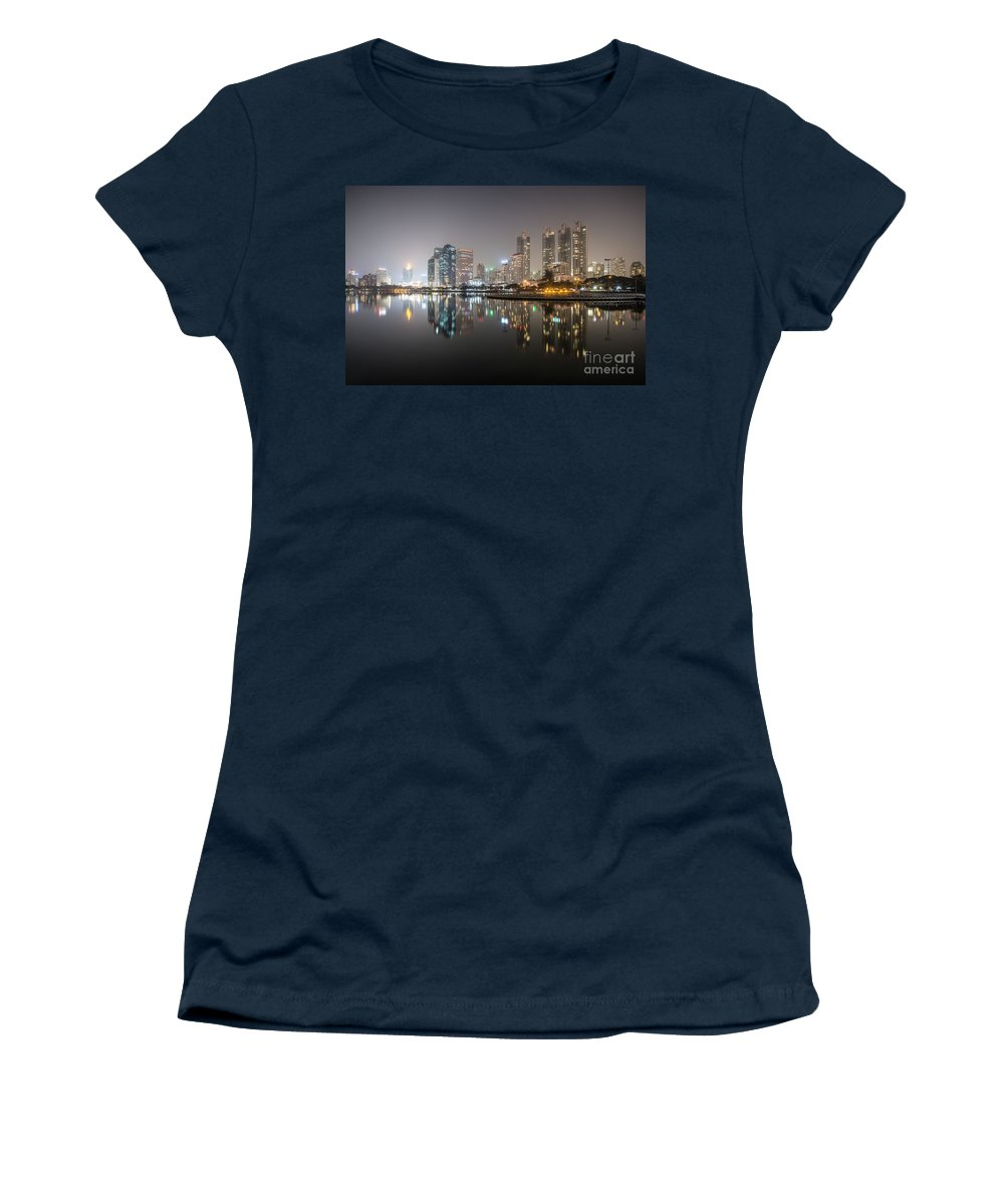 Architecture Women's T-Shirt featuring the photograph Bangkok By Night by Matteo Colombo