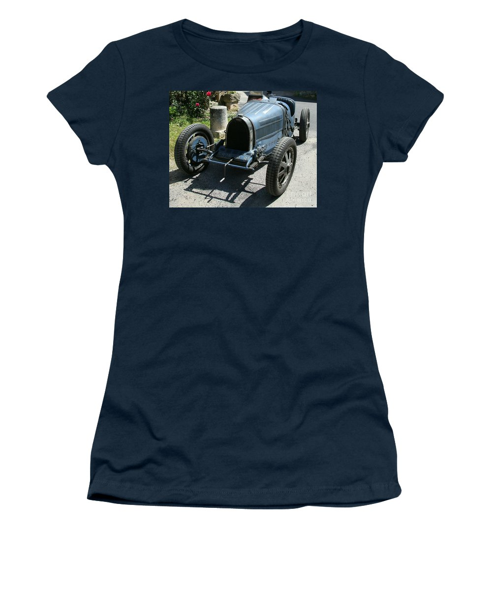 Oldtimer Women's T-Shirt featuring the photograph Blue Bugatti Oldtimer by Christiane Schulze Art And Photography