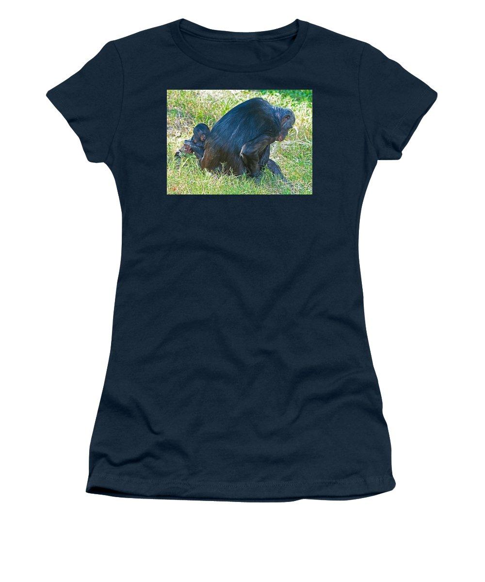 Bonobo Women's T-Shirt featuring the photograph Bonobo Mother And Baby by Millard H. Sharp