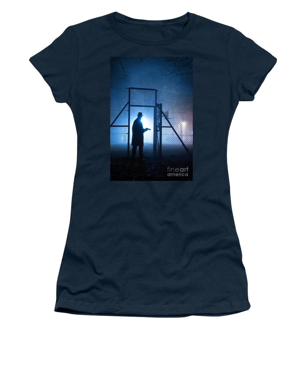 Gunman Women's T-Shirt featuring the photograph Mysterious Man With Pistol Ballpark Night Fog by Lee Avison