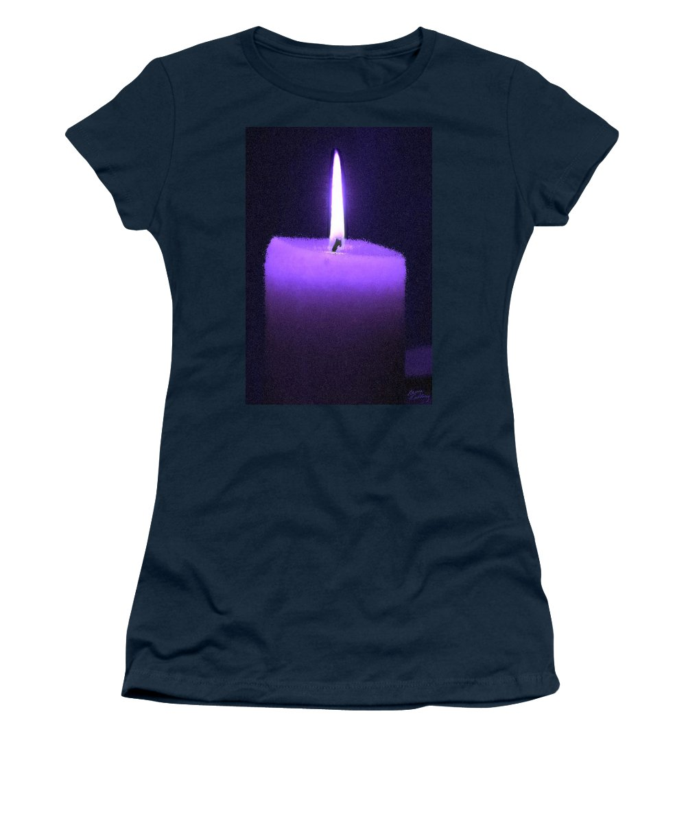 Purple Women's T-Shirt featuring the painting Purple Lit Candle by Bruce Nutting