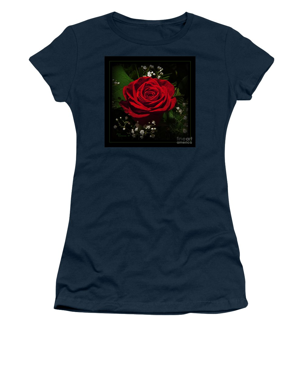 Rose Women's T-Shirt (Athletic Fit) featuring the photograph Red Rose by John Stephens