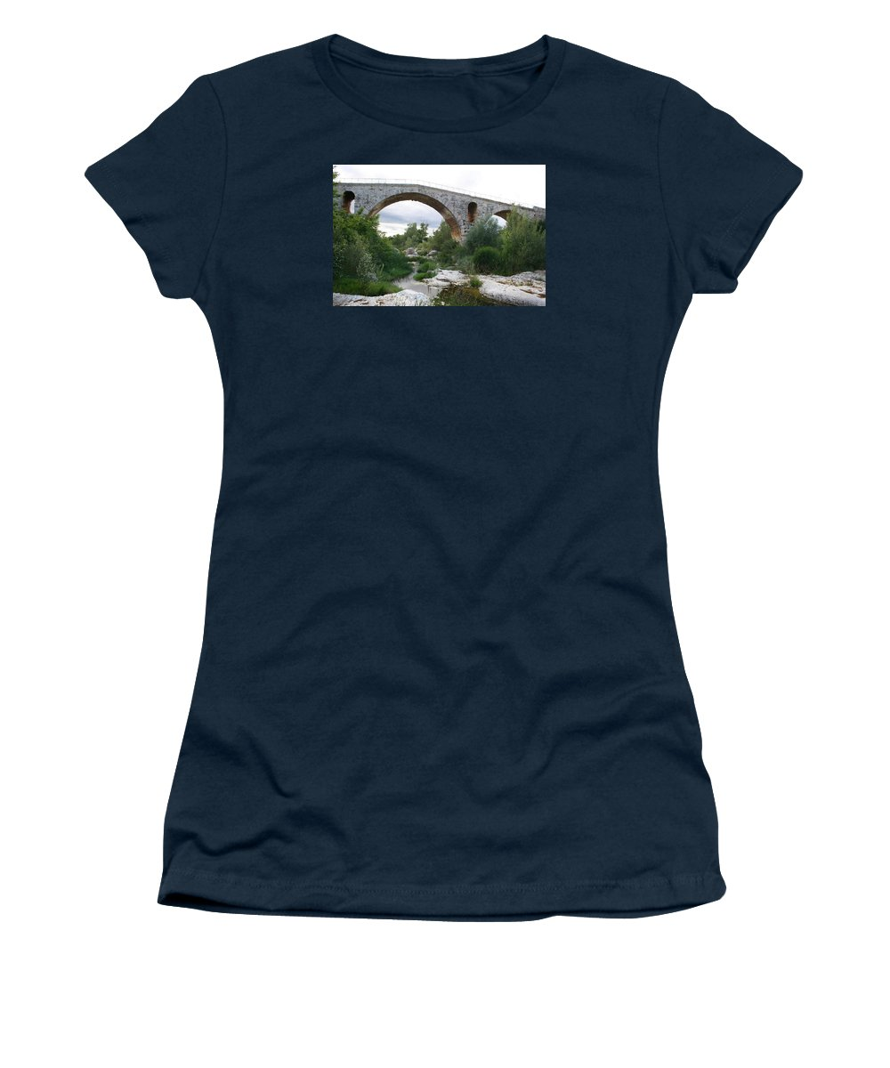 Roman Stonebridge Women's T-Shirt featuring the photograph Roman Arch Bridge Pont St. Julien by Christiane Schulze Art And Photography