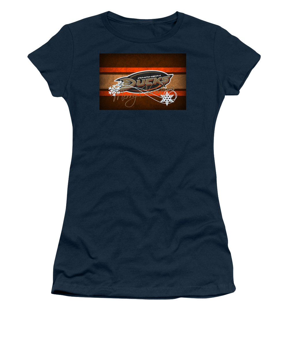 Ducks Women's T-Shirt featuring the photograph Anaheim Ducks by Joe Hamilton