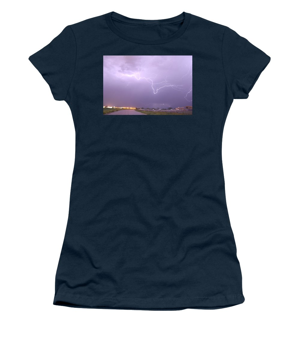 Stormscape Women's T-Shirt featuring the photograph Nebraska Cells Redevloping Over South Central Nebraska by NebraskaSC