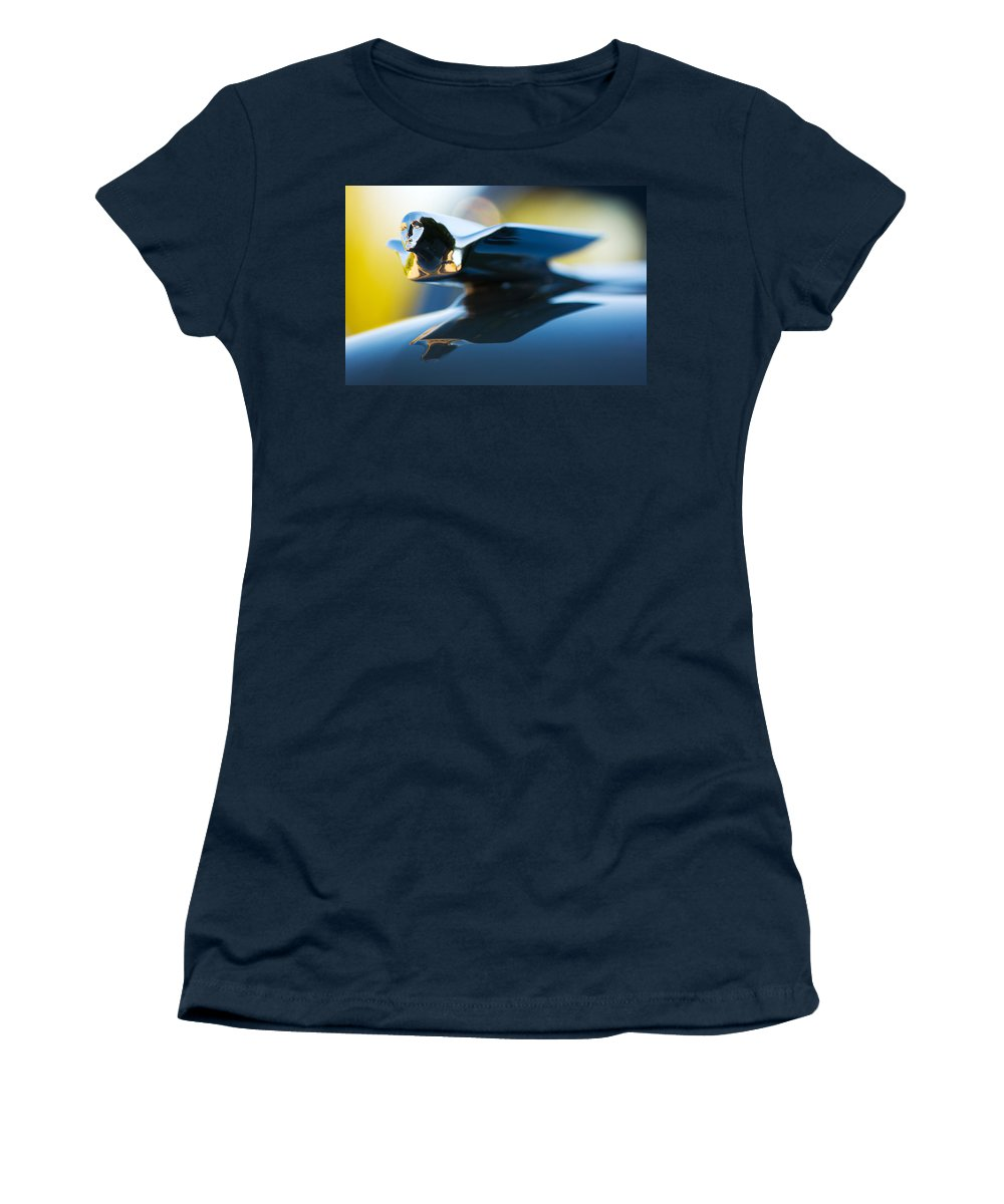 1947 Cadillac Model 62 Coupe Hood Ornament Women's T-Shirt featuring the photograph 1947 Cadillac Model 62 Coupe Hood Ornament by Jill Reger